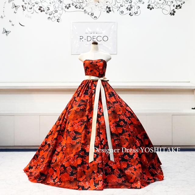 【オーダー制作】ウエディングドレス(パニエ無料) 赤&黒花柄 披露宴/お色直し ※制作期間3週間から6週間