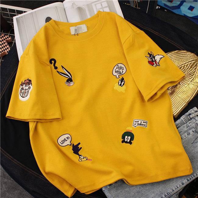 【tops】刺繍配色ファッションラウンドネックTシャツ19131693