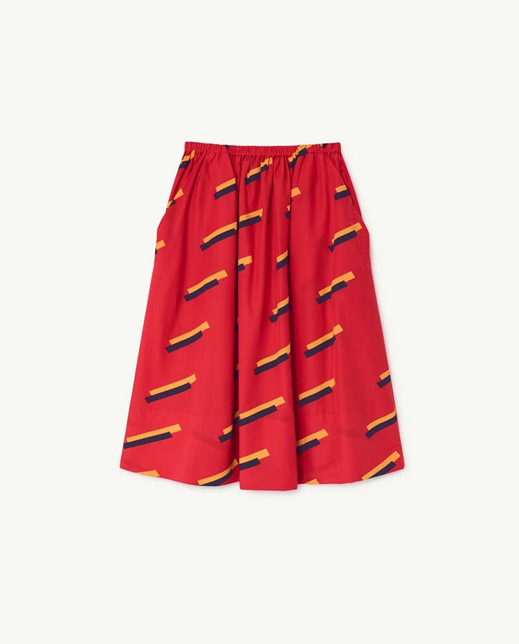 the animals observatory  RED SOW KIDS SKIRT