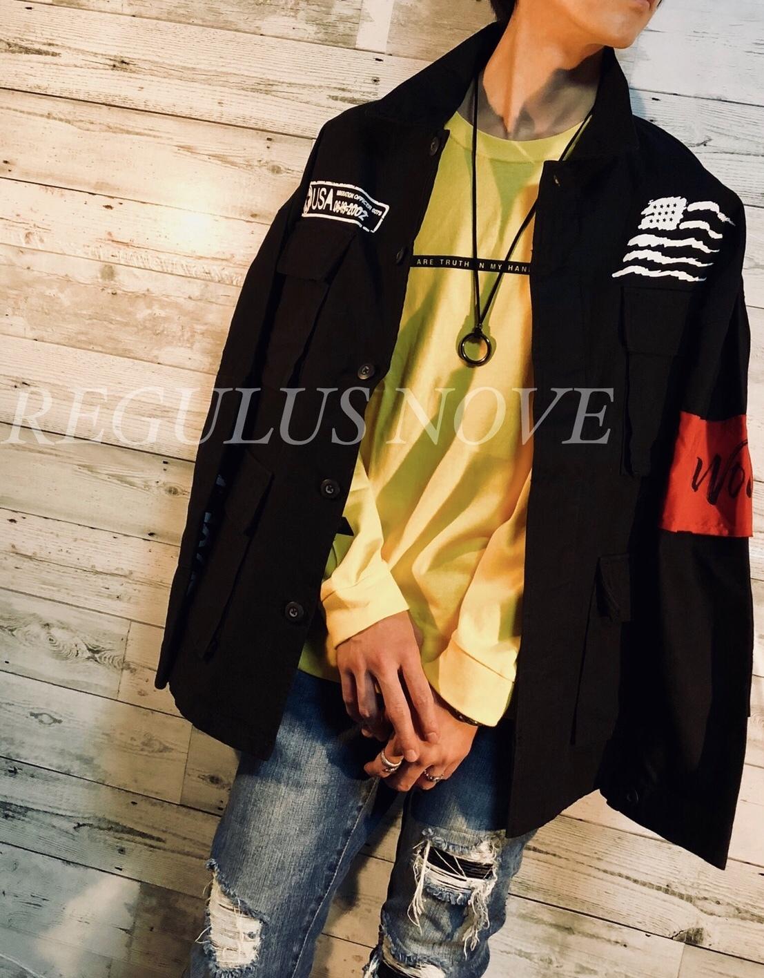 BIGシルエットミリタリージャケット BLACK ユニセックス レディース メンズ オーバーサイズ 個性的 トレンド ストリート KPOP