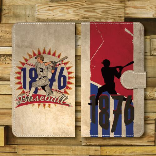 レトロポスター/ベースボール/野球/レトロ調/ビンテージ調/アメリカ/バッター/RED・BULE/Androidスマホケース(手帳型ケース)