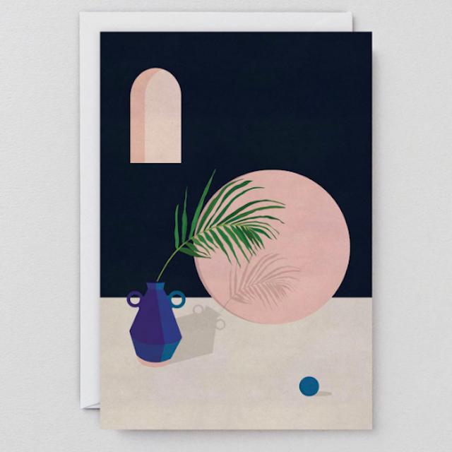 WRAP / BLUE VASE & LEAF  ART CARD -Artwork by Charlotte Taylor- アートカード