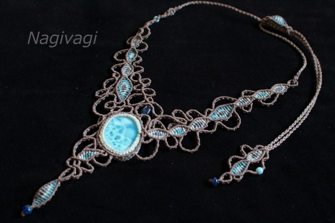 Larimar macrame necklace
