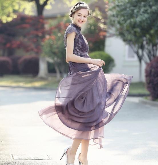 82d8a0f8b6b0e パーティードレス 韓国ワンピース 紫 パープル シフォン マキシワンピース ロングドレス フレアワンピ 結婚式 二次会.  商品のお届け時期   予約商品です