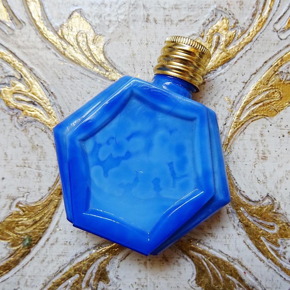 チェコスロバキア ボヘミアガラス 六角形のパフュームボトル / ブルー