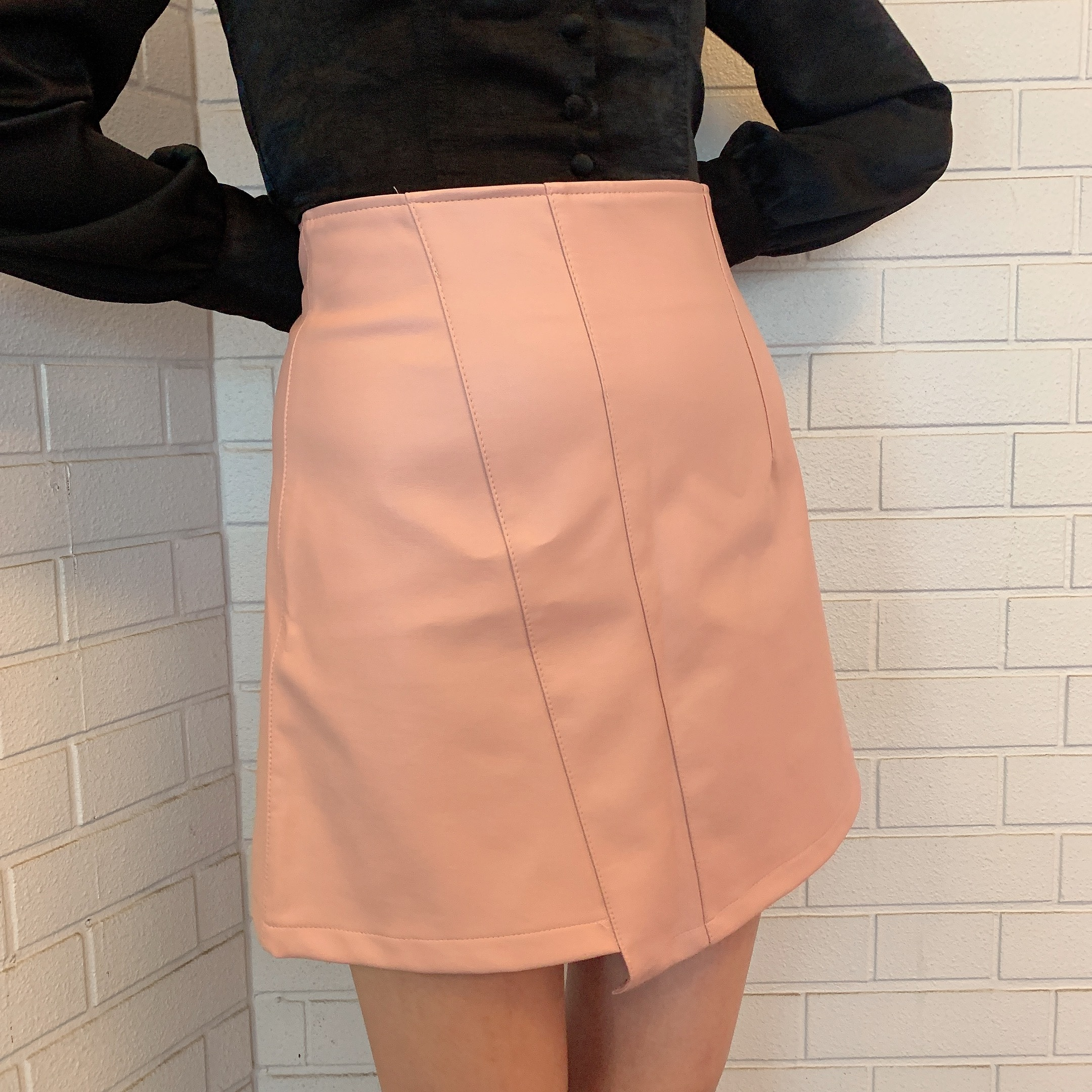 asymmetry leather skirt