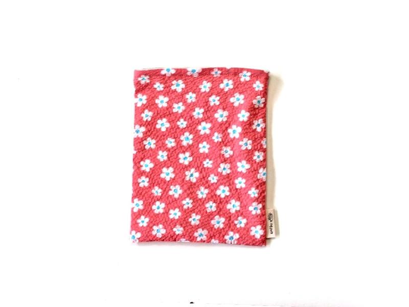 ハリネズミ用寝袋 S(夏用) 綿リップル×スムースニット フラワー ピンク