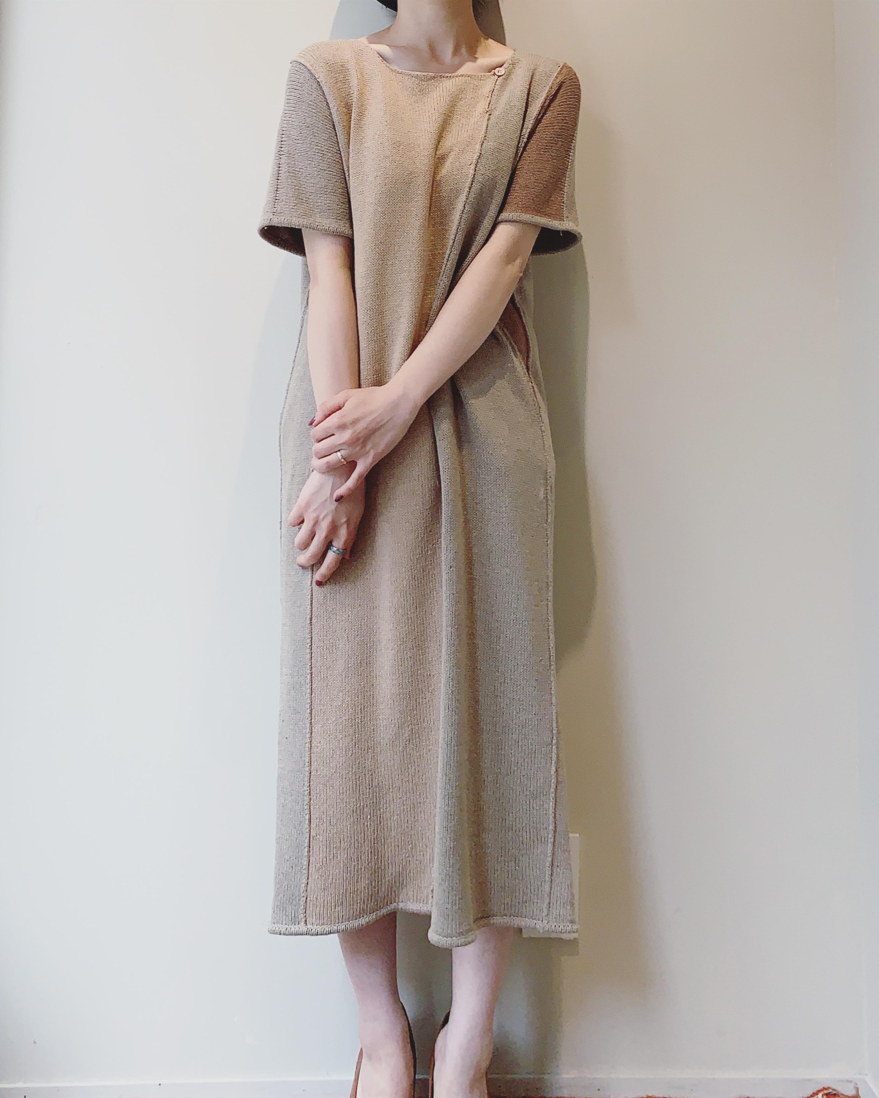 vintage silk × cotton knit onepiece