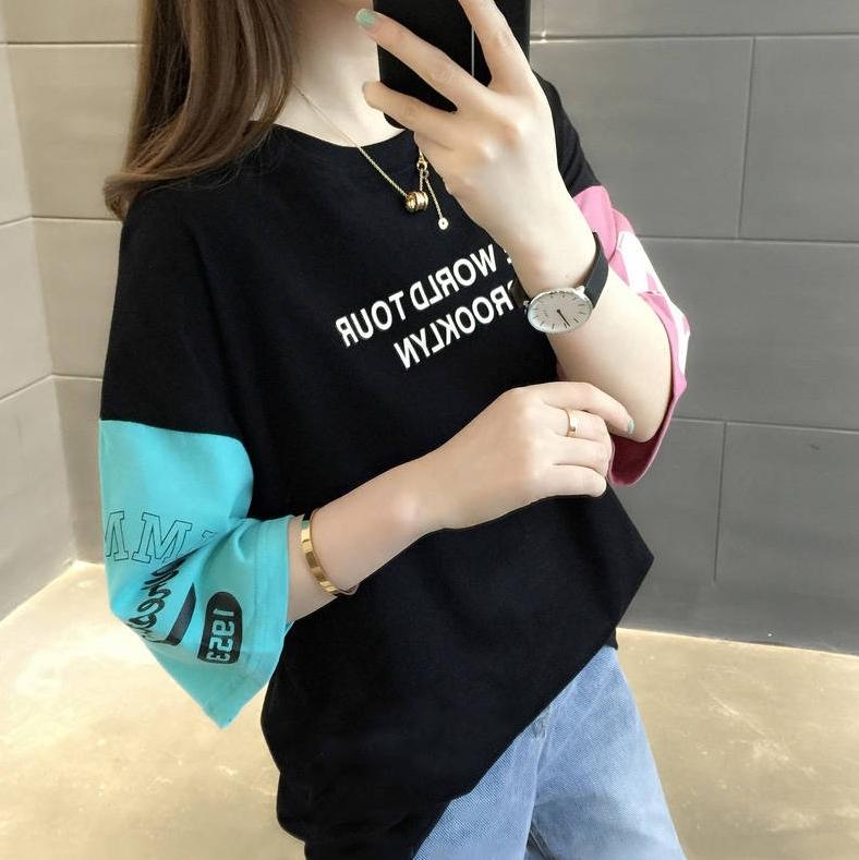 【tops】ファッションアルファベット配色Tシャツ22164922
