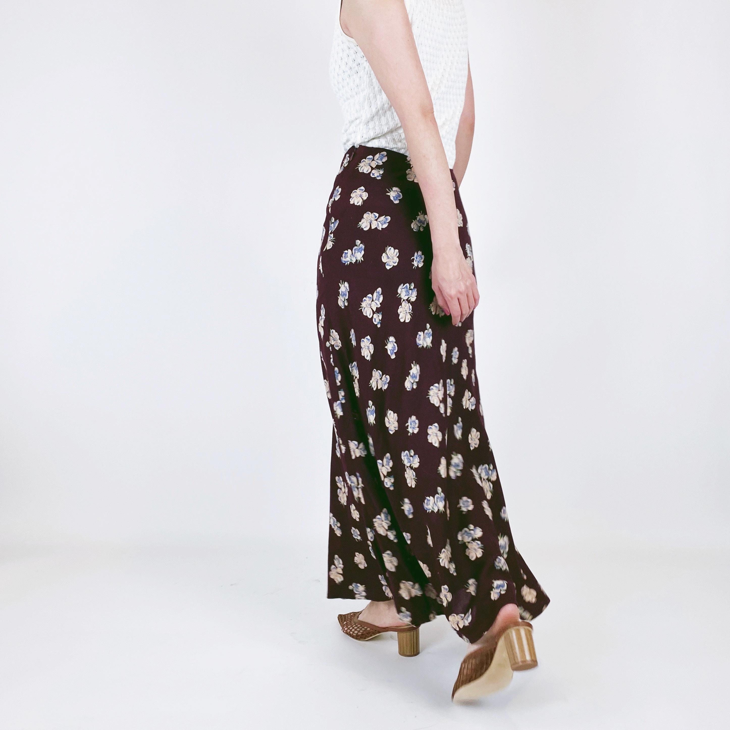 ◼︎90s floral print mermaid line rayon skirt from U.S.A.◼︎