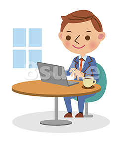 イラスト素材:喫茶店でノートパソコンを使うビジネスマン(ベクター・JPG)
