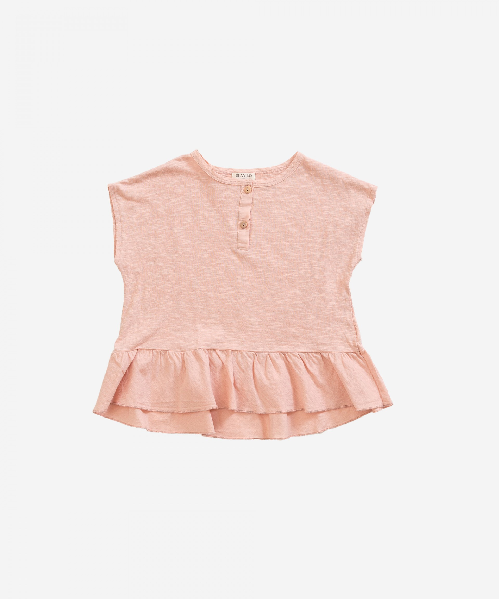 Play Up プレイアップ T-shirt in organic cotton with frill | Weaving size:3Y(100)ー8Y(130)