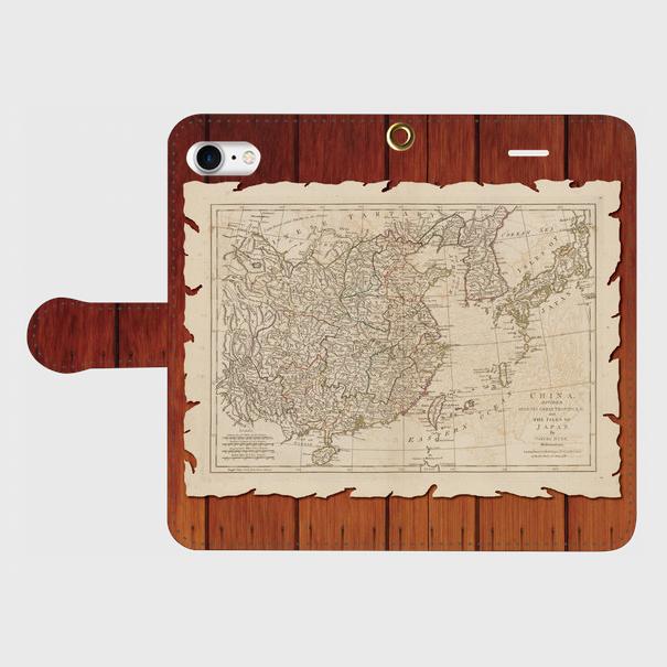 古地図木目調(1700年代)/iPhoneスマホケース(手帳型ケース)