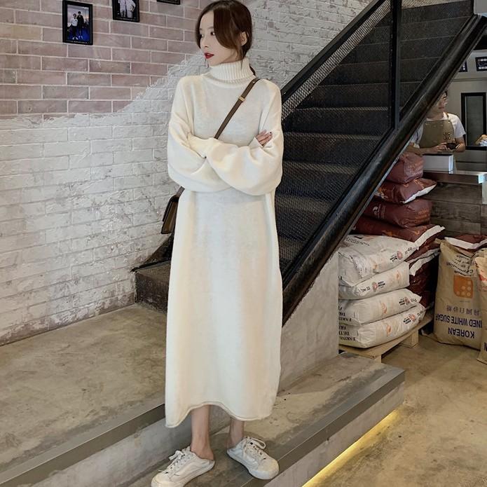 【dress】ハイネック着痩せ無地ロングカジュアルワンピース24927620
