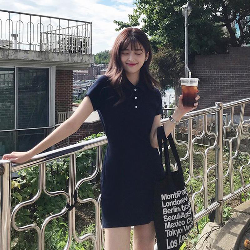 【送料無料】 ポロシャツワンピ♡ 襟付き ミニワンピ 半袖 ワンピース シンプル バックリボン カジュアル