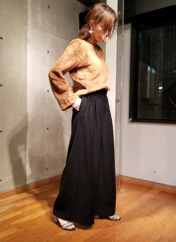 STORY12月号掲載☆細コーデュロイワイドパンツ(ブラック)