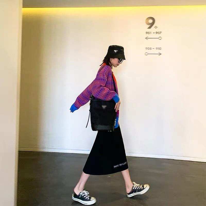 hem logo long skirt