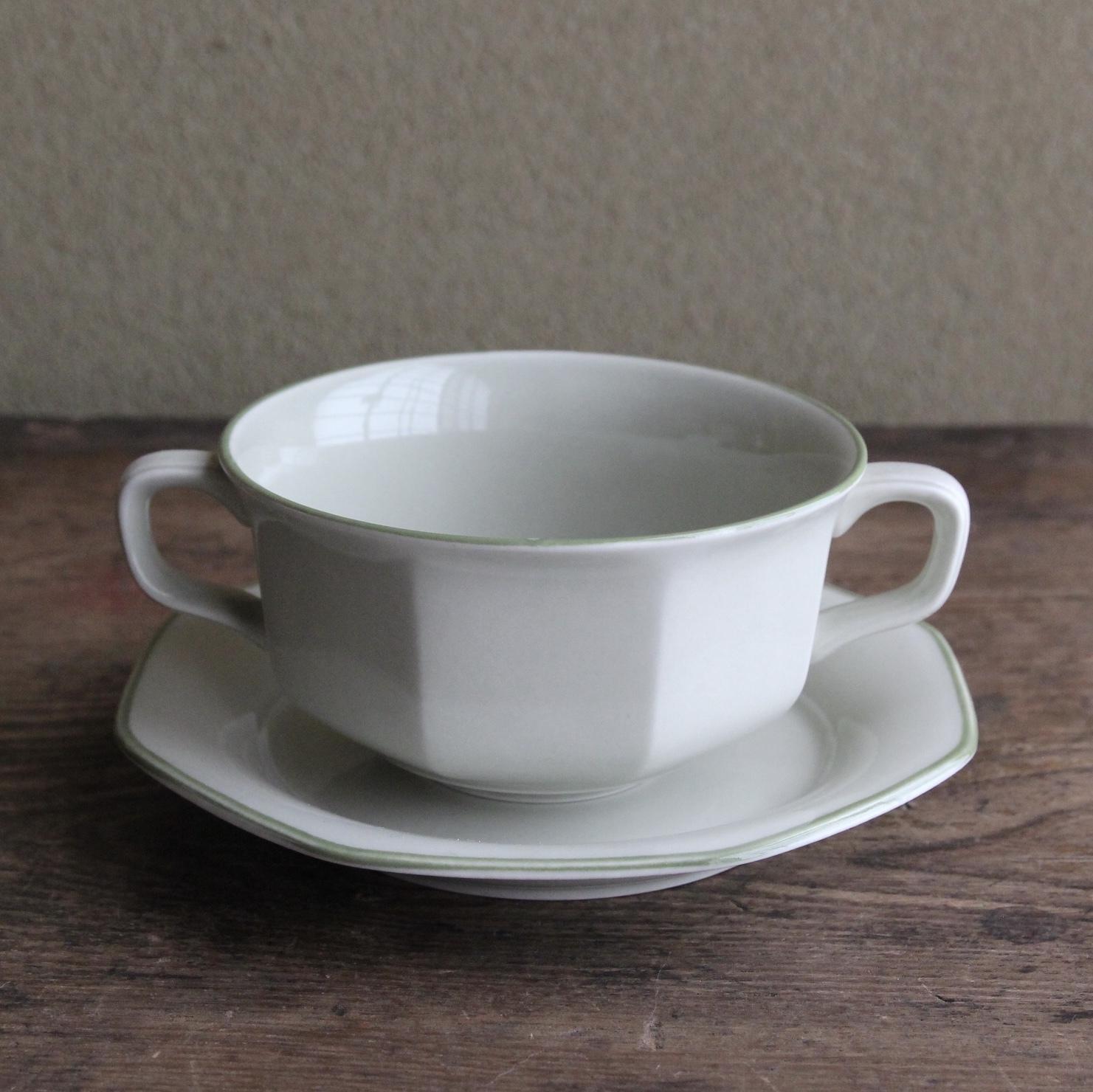 薄緑色のスープカップアンドソーサー 在庫2客