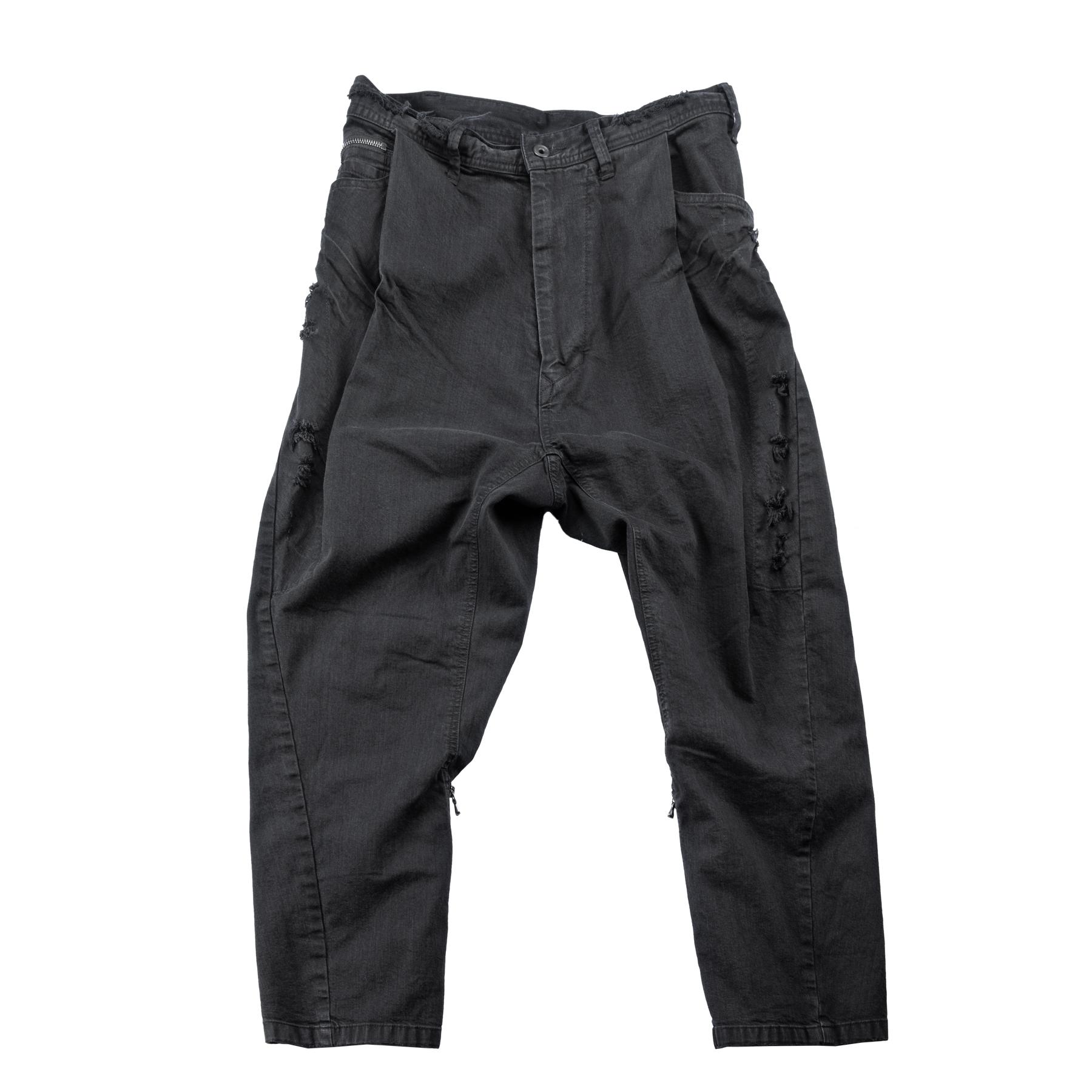 637PAM22-CHARCOAL / タックド バギー パンツ