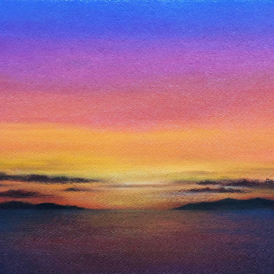 絵画 インテリア アートパネル 雑貨 壁掛け 置物 おしゃれ 夕陽 空 パステルアート ロココロ 画家 : ゆめの 作品 : 夕陽に染まる空