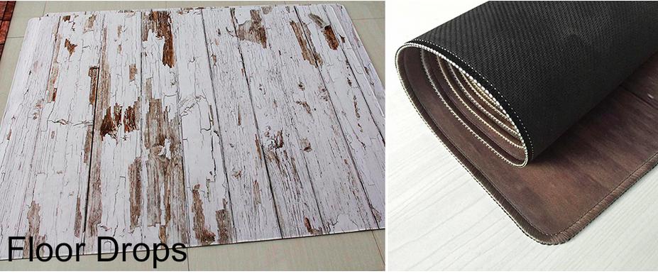 ゴム製の木目調フロアーマット 120x150cm