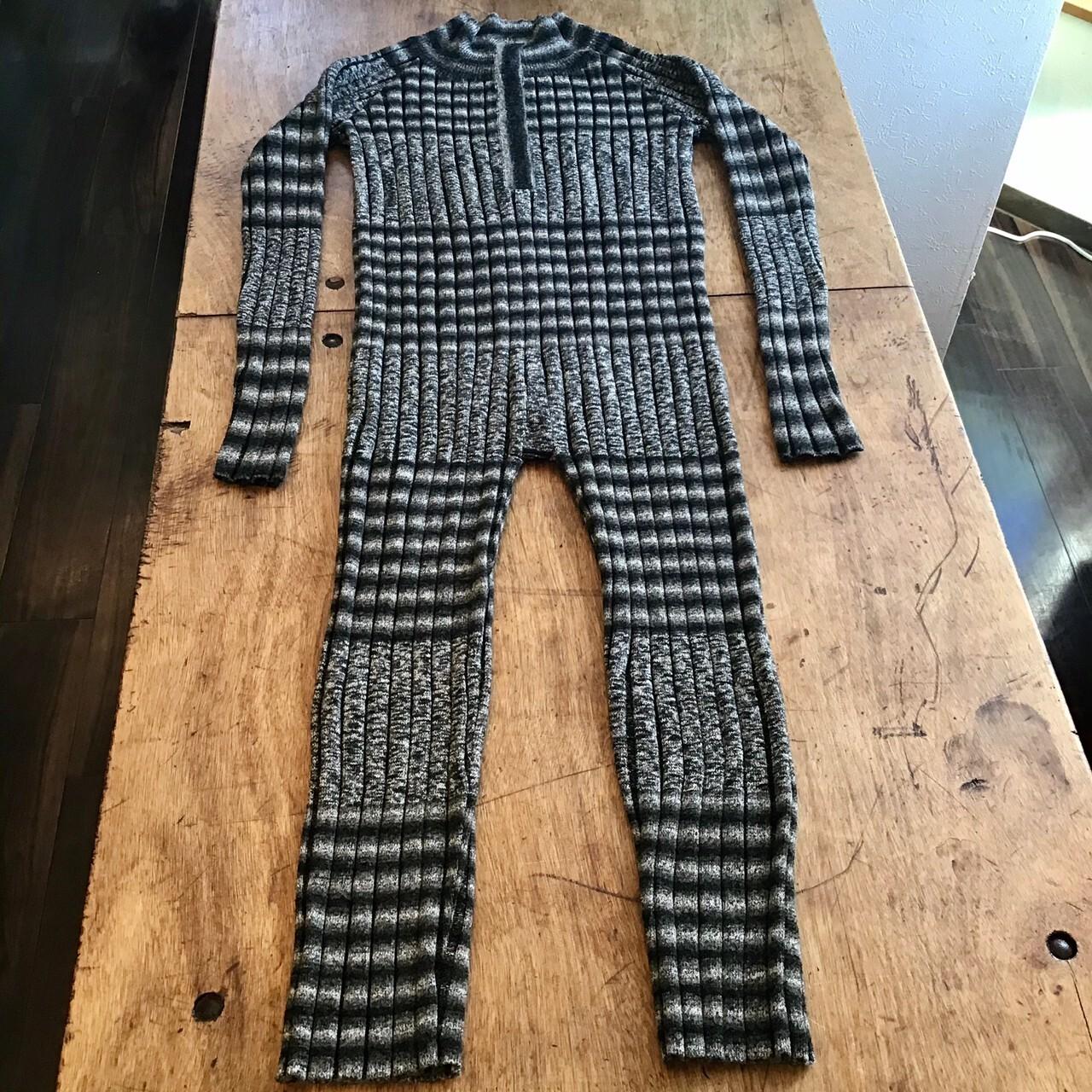 FUMIETANAKA F20A-11 knit rompers color grey/black mix系