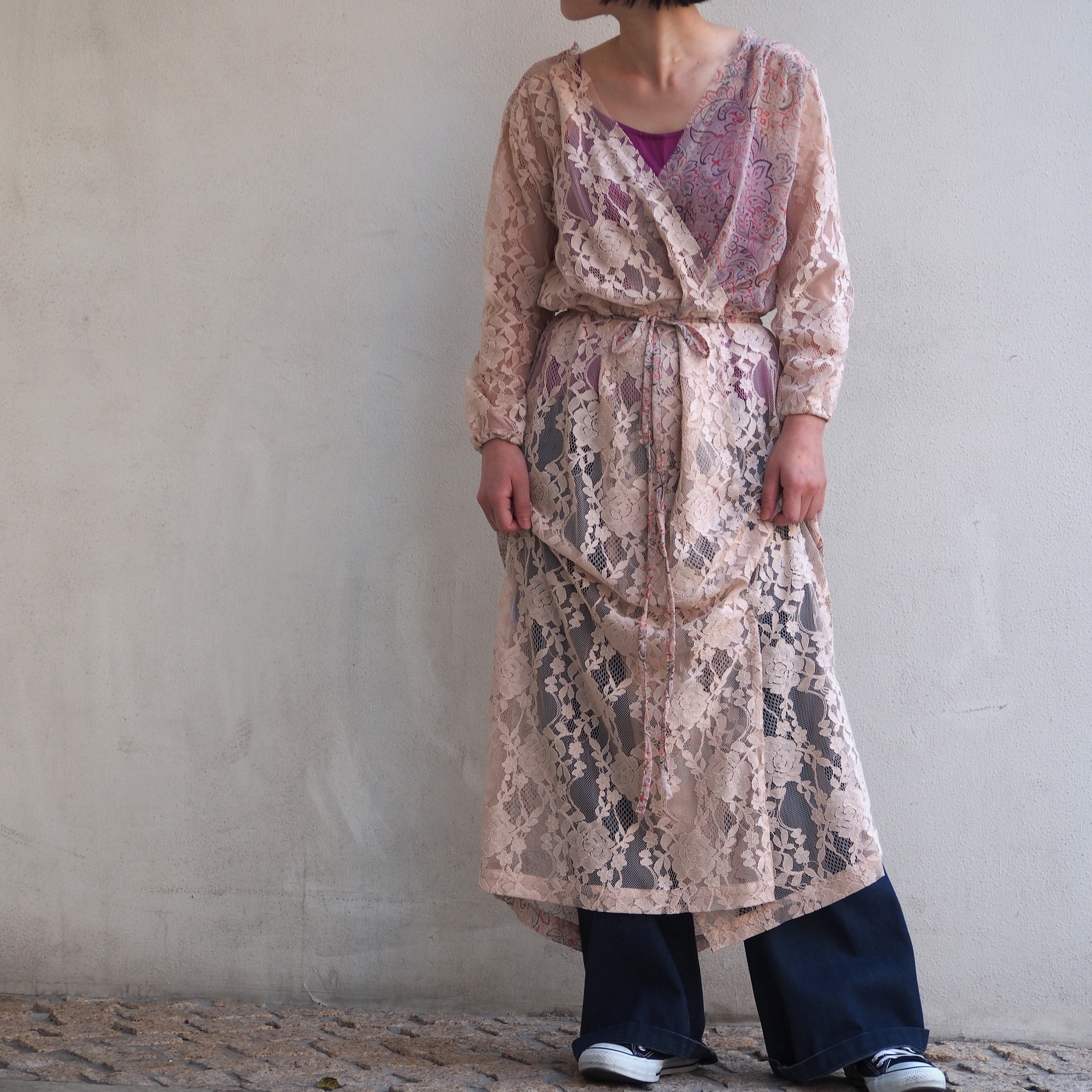 【ethical hippi】tuck gather one piece(lace×pink beige) / 【エシカル ヒッピ】タック ギャザー ワンピース(レース×ピンクベージュ)