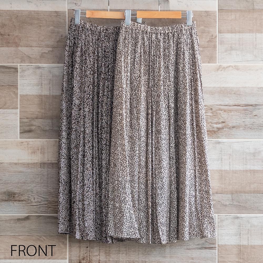 レオパードドットロングギャザースカート