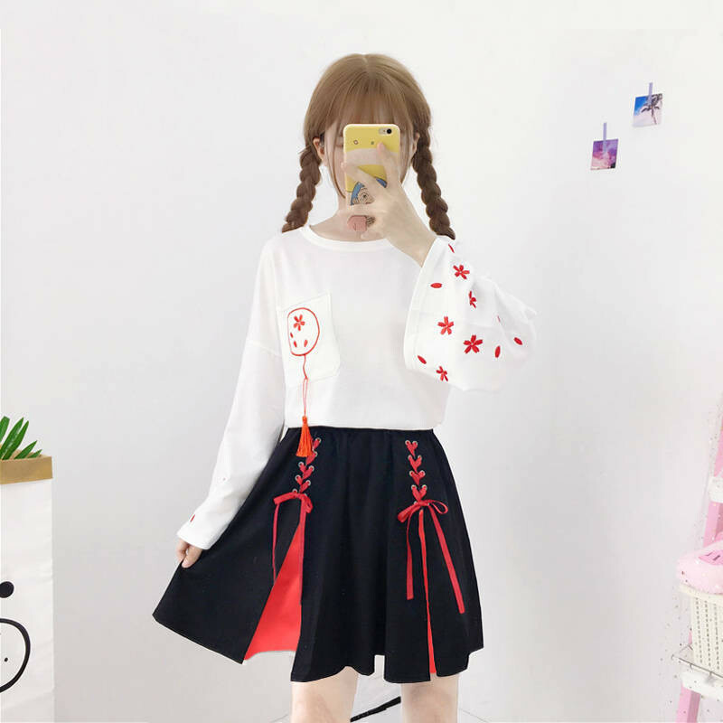 【新商品】兎刺繍長袖シャツ