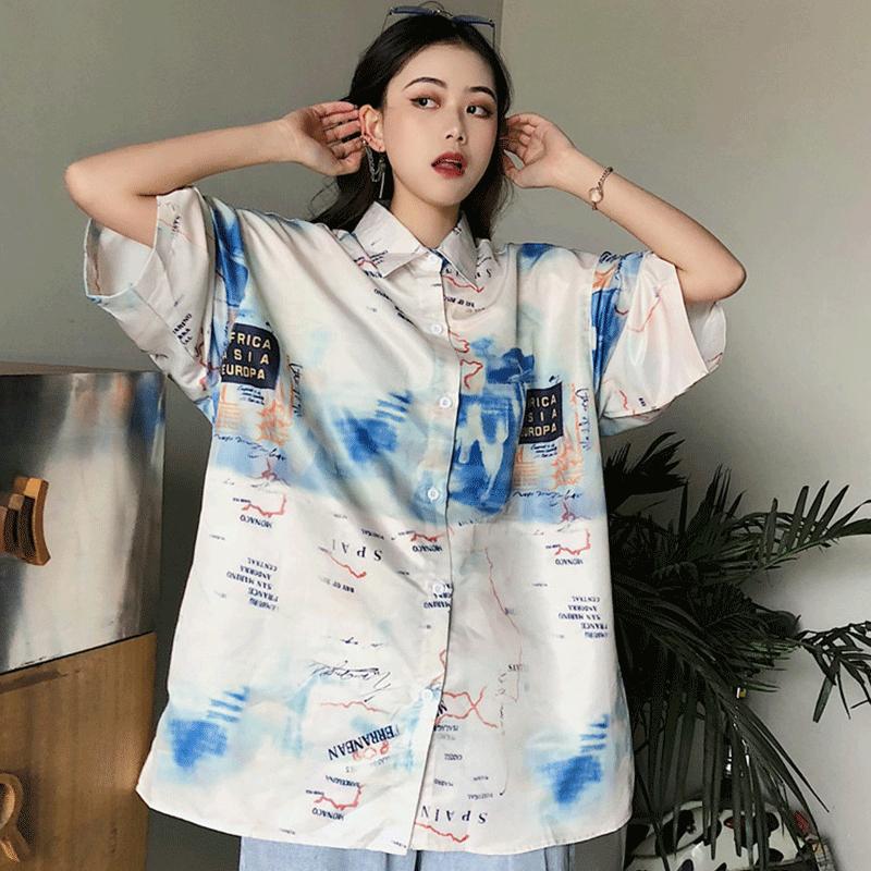 【tops】プリントシングルブレストファッションシャツ26675890