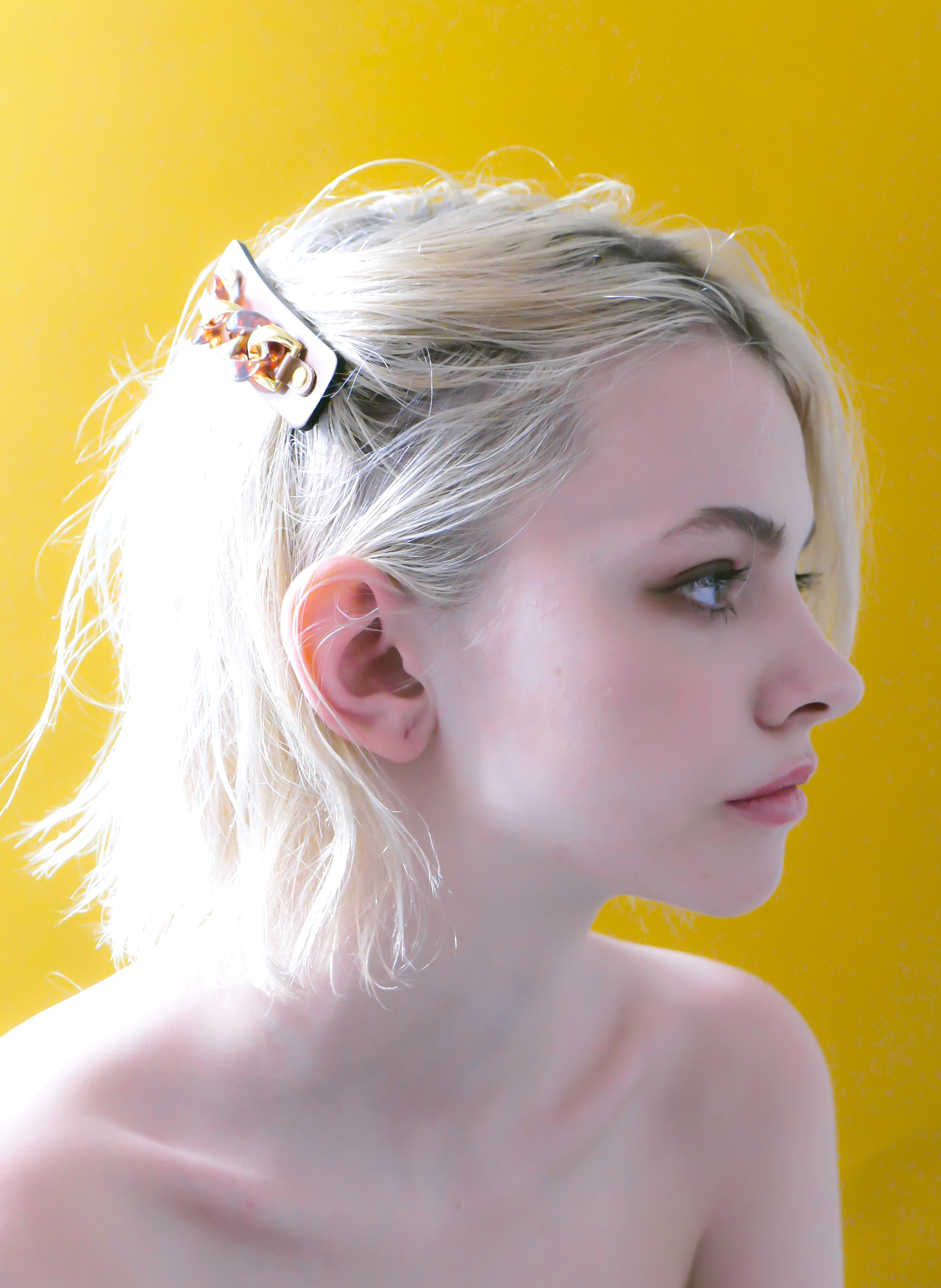 Joe17SS-61 marble chain leather barrette