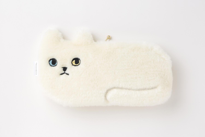 ネコ横長ポーチ【ボアホワイト】