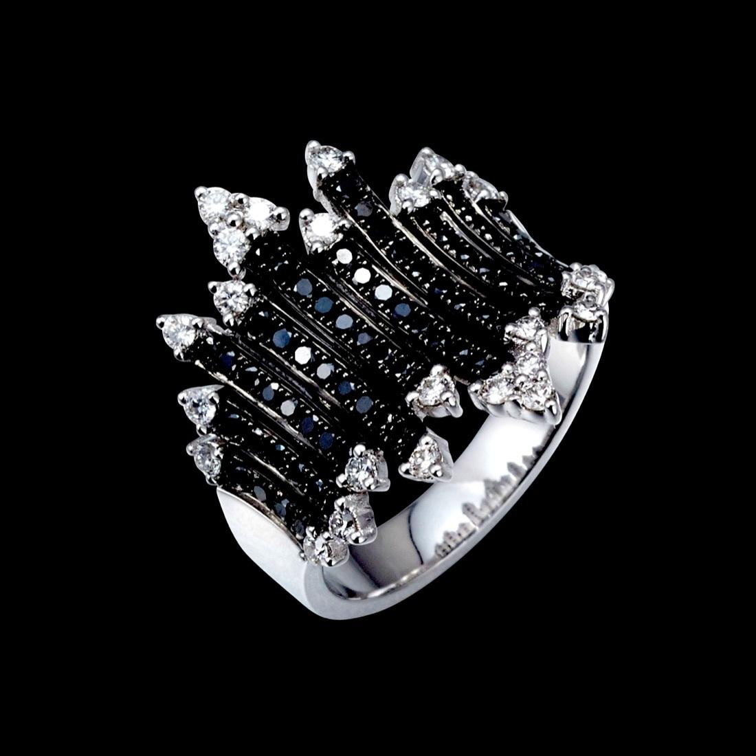 jewelG <Black&White> リング K18/ダイヤモンド/ブラックダイヤモンド