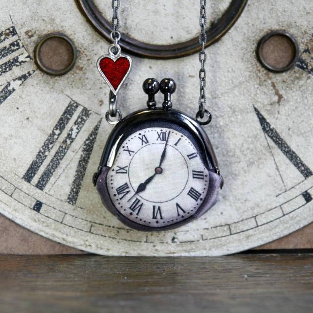 【受注製作】時計がま口ミニ ハートのネックレス ローマ数字銀時計 - 金星灯百貨店