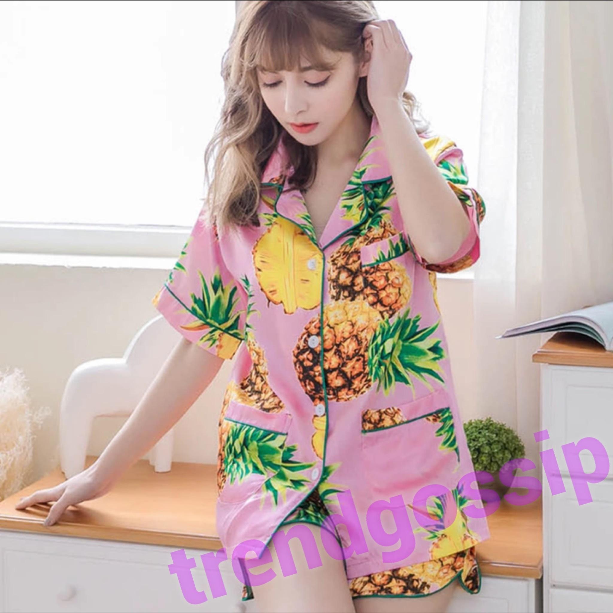 ピンクパイナップルパジャマ/ルームウェア/部屋着/M.L.XL
