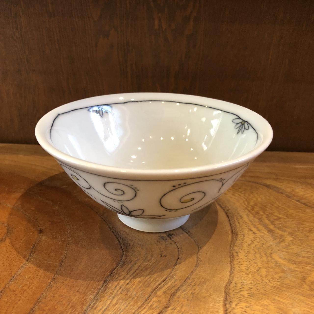 砥部焼 陶彩窯 象嵌のお茶碗 小
