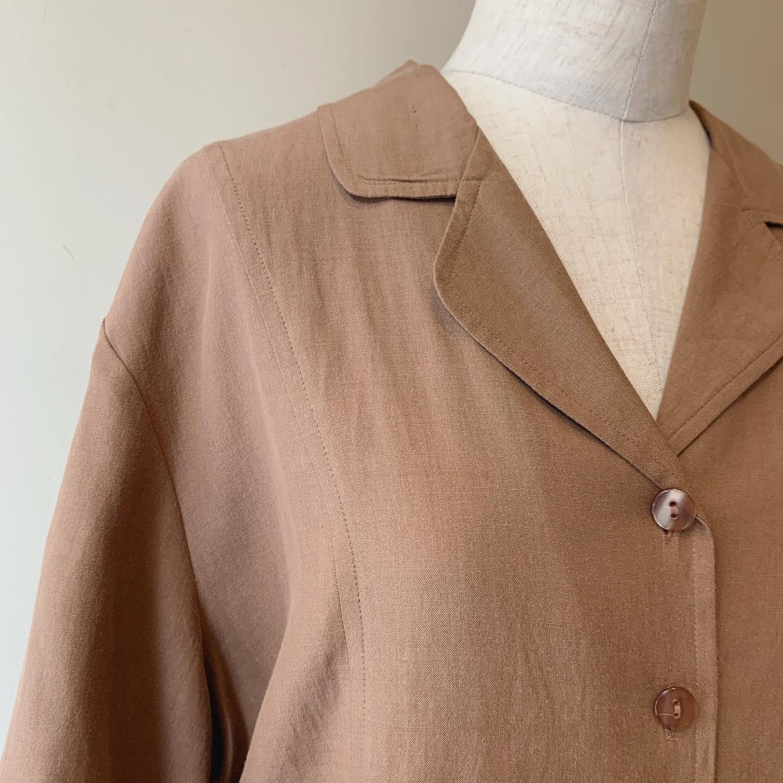 vintage open collar silk tops