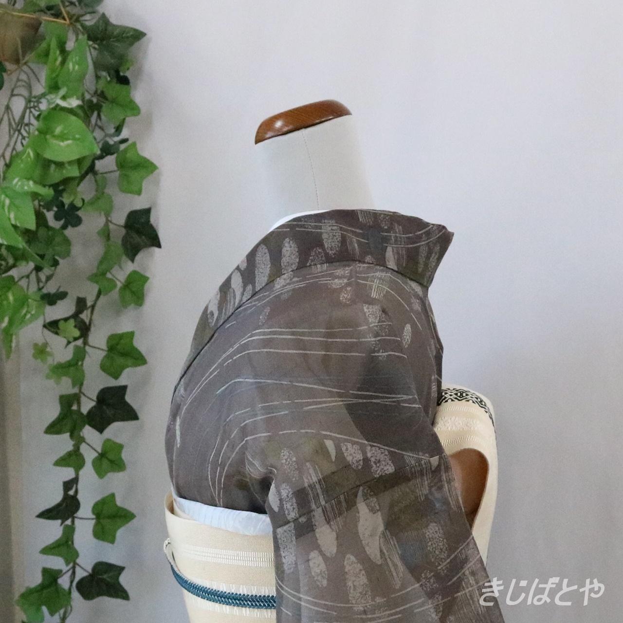 夏紬 黒橡に総柄の小紋 単衣