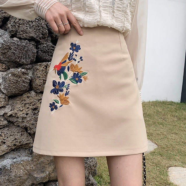 【即納のみ】retro embroidery skirt