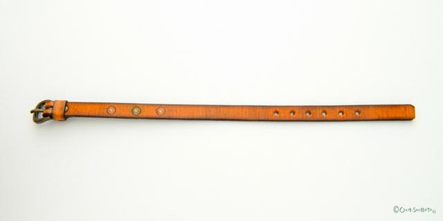 木版染革ベルトオレンジ丸S