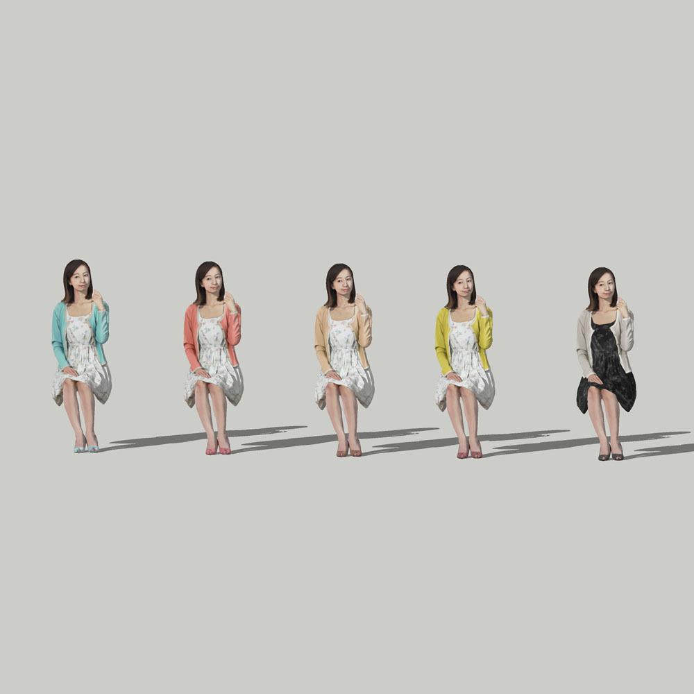 SketchUp素材 3D人物モデル ( Posed ) 091_Aya - 画像2