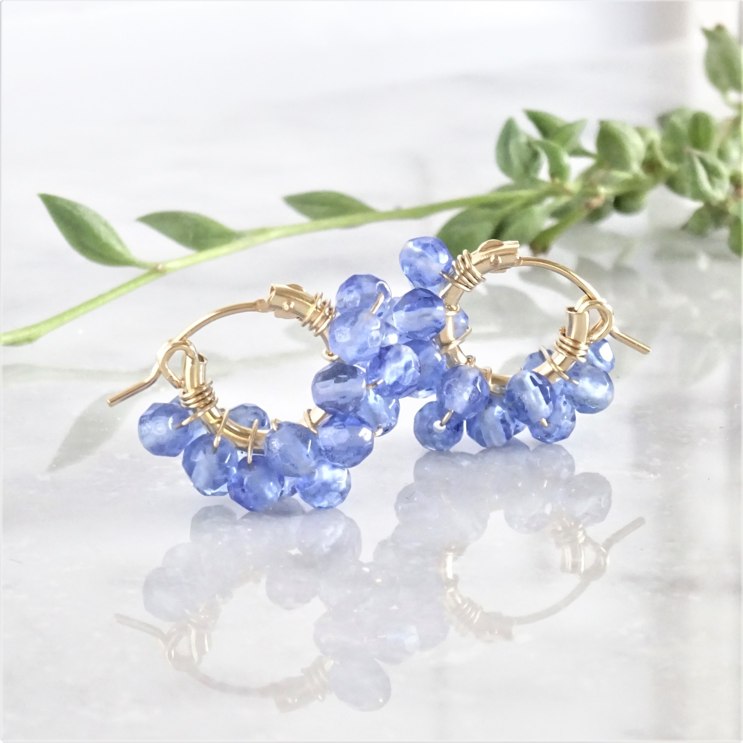 送料無料 14kgf*Blueberry Quartz wrapped pierced earring /earring