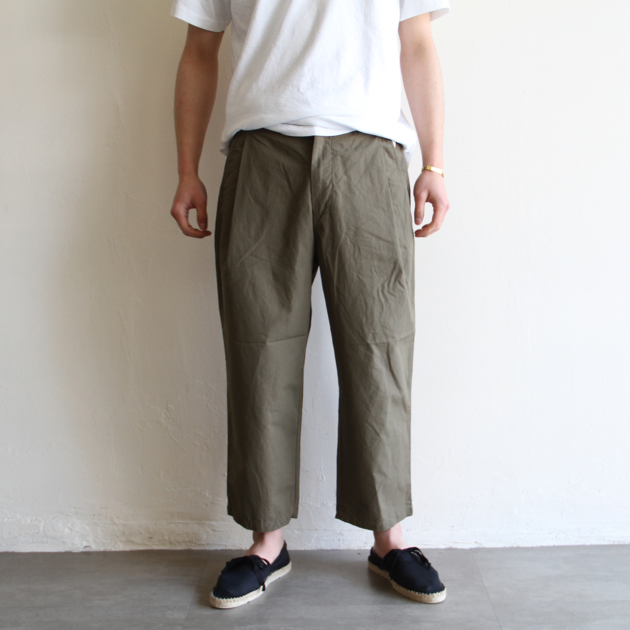 STILL BY HAND【 mens 】  cotton linen cropped pants