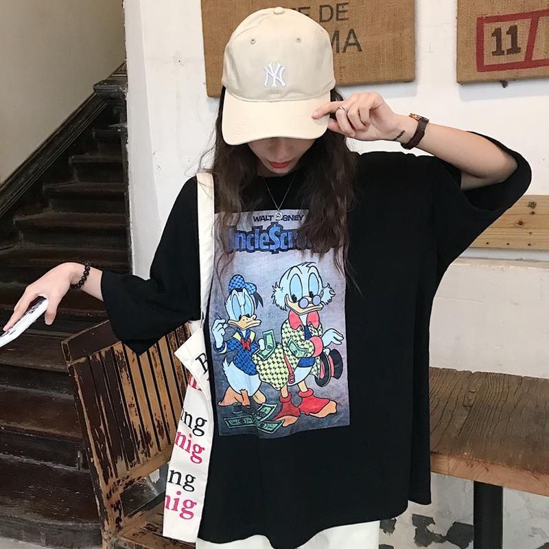 【tops】カートゥーン半袖カジュアルラウンドネックプルオーバーTシャツ17665573