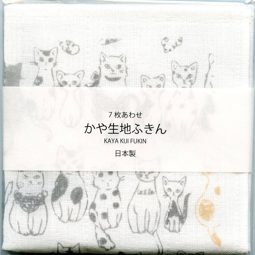 猫ふきん(かや生地ネコいっぱい)