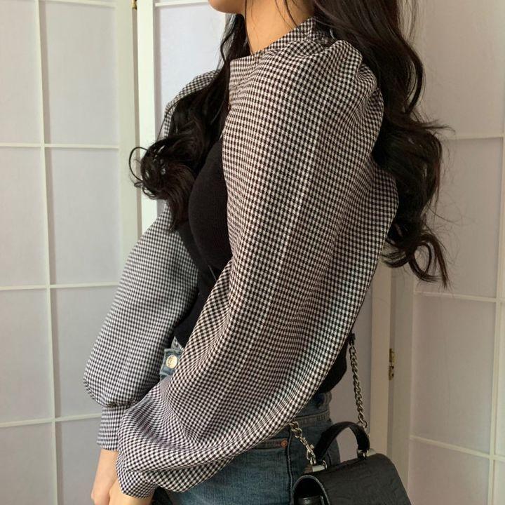 チェックブラウス&ビスチェ【check blouse & bustier】