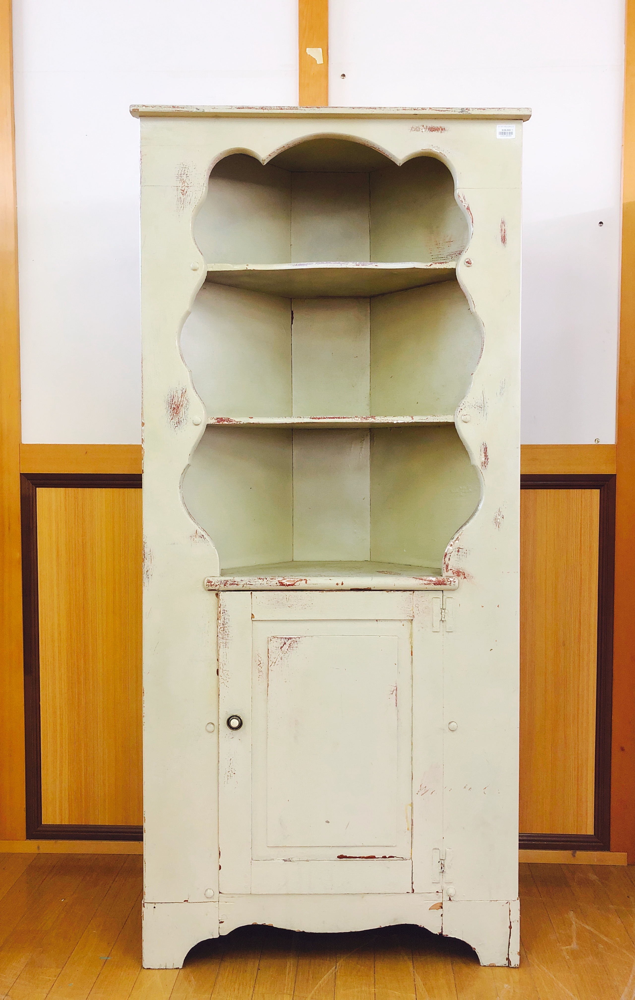 品番3564 コーナーキャビネット 食器棚 棚 ホワイト 家具 木製 アンティーク