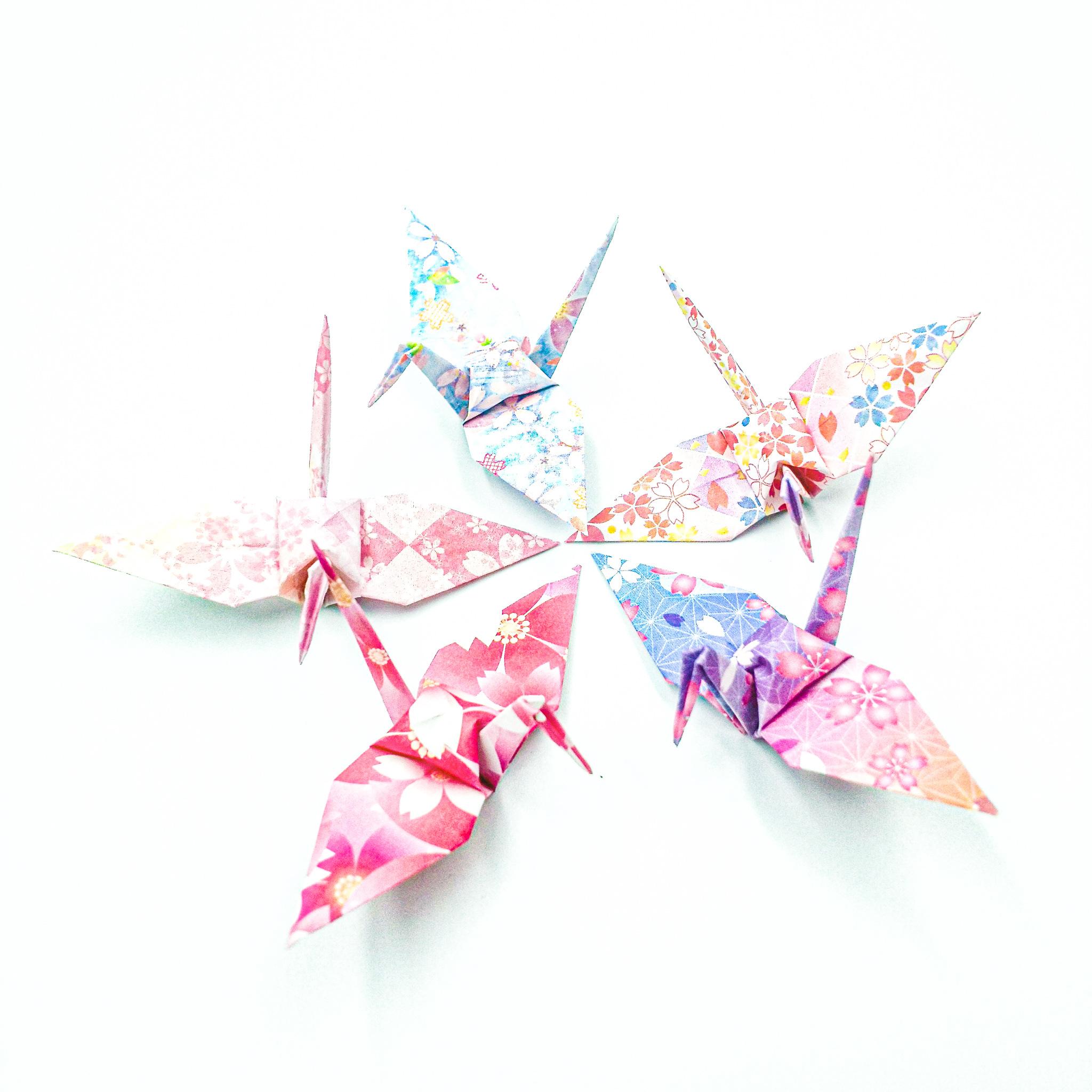 色めく恋桜の折り鶴 (神前式、和装婚折り鶴シャワー演出・和風撮影小物) 130羽入り