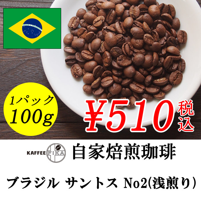 ブラジル サントス No.2 (浅煎り)  100g