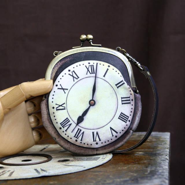 【受注製作】時計がま口 持ち手つきカードケース ローマ数字銀時計 - 金星灯百貨店